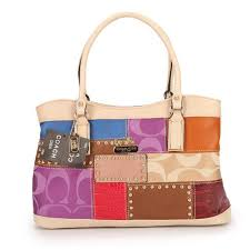 Coach Holiday Fashion Stud Medium Ivory Multi Satchels EBL