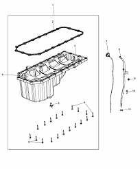 2012 dodge durango engine oil pan engine oil level indicator and related parts diagram