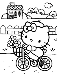 hello kitty coloring pages riding bike printable | Free Coloring ...