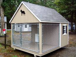 image of outdoor dog kennel with roof