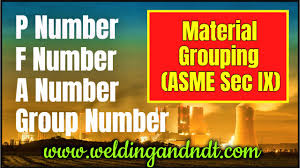 P Number Chart P Number F Number And A Number In Welding Asme Section Ix