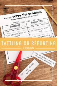 List Of Tattling Vs Telling Anchor Chart Social Skills