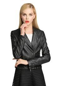 womens plain long sleeve oblique zipper pu leather jacket black pink queen