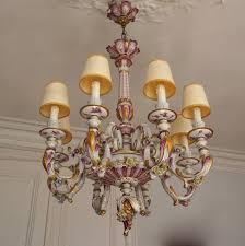 capodimonte porcelain eight light chandelier italy for at 1stdibs