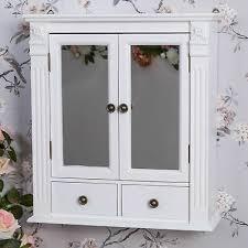 white wooden mirrored cabinet bathroom