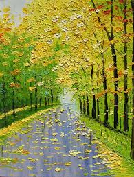 palette knife canvas art oil painting golden fall trees landscape painting decorative modern art by marchella hand painted