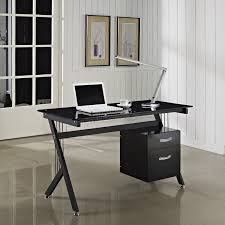 foxhunter computer desk pc table with glass top