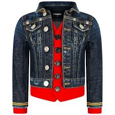 Designer Jean Jacket Dsquared Blue Waistcoat Layered Denim Military Jacket