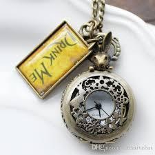 new vintage drink me alice in wonderland pocket watch necklace watch with rabbit h211001