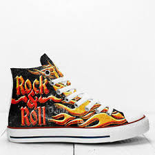 Details About Rock And Roll Custom Canvas High Top Shoes Sneakers Use Size Chart Photos