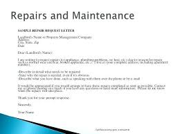 Sample Request For Repair Complaint Letter To Landlord Template