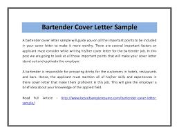 Bartender Cover Letter Sample Pdf Sample Bartender Resume Resume