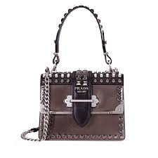 prada cahier studded leather cross bag
