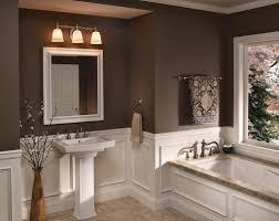 impressive best bathroom colors. Brown Wall Color With White Pedestal Sink And Best Mounted Light Fixtures For Impressive Comfortable Bathroom Ideas Colors R