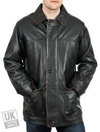 men s black leather coat jacket hip length hamilton