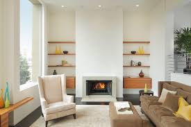 floating shelves next to fireplace living room modern with neutral colors dark floor picture window