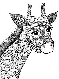 Giraffe Adult Coloring Book Page | Drawings I've Made | Pinterest ...