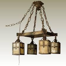 bradley hubbard arts crafts iron brass slag glass hanging lamp
