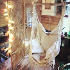 hanging chair sitting hammock porch swing with macrame fringe off white organic cotton indoor