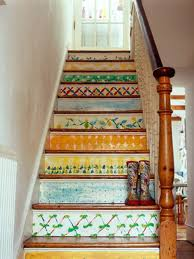 Eclectic Painted Stairs Design