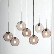 west elm globe ceiling lamp sculptural glass 7 light chandelier small smoke linear shade bronze canopy