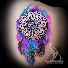 Purple Dream Catcher Tattoo Blue purple and pink music watercolor dreamcatcher on Behance 5