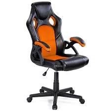 costway pu leather executive bucket seat racing style office chair computer desk task 0