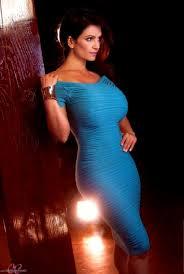 Model Denise Milani Curvy Blue Dress Wallpapers HD Desktop