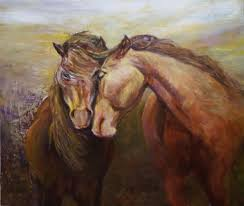 acrylic paintings of horses horse and lion photos