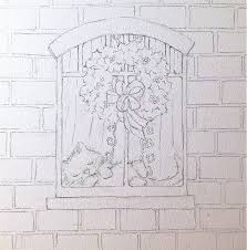 window pencil drawing. base window drawing pencil w