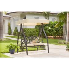 belcourt metal outdoor swing with stand and canopy with cushionguard oatmeal cushion
