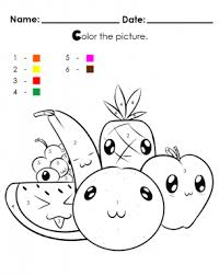 Bring Cute Fruit Alive With Color By Numbers Apple Orange Banana