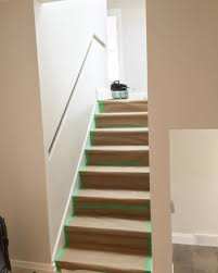 Remember that really narrow staircase and inset handrail? This is the  (almost) finished