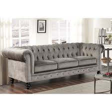 grey velvet chesterfield sofa. Contemporary Velvet Abbyson Living Grand Chesterfield Grey Velvet Sofa Grey Foam Intended N