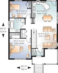 Attractive Two Bedroom House Plan   21783DR Floor Plan   Main Level