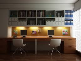 home office workspace wooden furniture. Smart Space Saving Ideas Home Office Design For Two With Wall Mounted Side-by-side Wood Desk And Top File Storage Open Shelves Completed Workspace Wooden Furniture E
