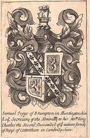 1680 1690 with arms of samuel pepys quarterly 1st 4th sable on a bend or between two nag s heads erased argent three fleurs de lis of the field