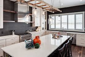 modern rustic kitchen images stainless steel stools frames legs white concrete block texture walls white seats