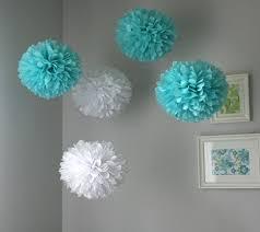 Hanging Pom Pom Decorations Aqua White Tissue Poms Paper Pom Poms Wedding And Birthdays