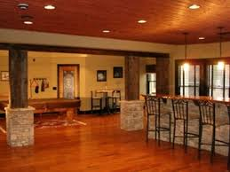 basement finishing design. Exclusive Finished Basements Ideas For Enhanced Room Extension: Stunning Wood And Stone Theme Natural Style Basement Finishing Design