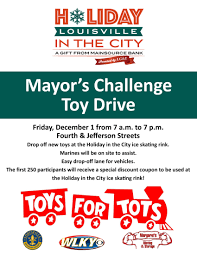 mayor s challenge toys for tots drive friday december 1
