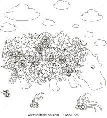 Small Picture Flowers Sheep Coloring Page Antistress Vector Stock Vector