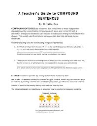 A Teacher S Guide To Compound Sentences