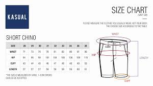 Size Chart Short Chinos Kasual Kasual