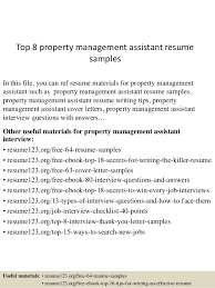Property Management Resume Samples Top 8 Property Management Assistant Resume Samples
