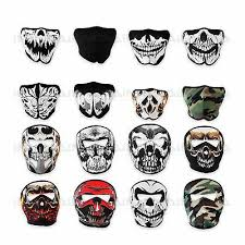 Neoprene <b>Skeleton</b> Half Full Face <b>Skull Mask</b> Motorcycle Motor <b>Bike</b> ...