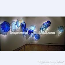 2018 2018 chihuly stye art glass wall decor plates modern art decor blown murano glass custom made wall mounted decor glass wall lamps from honyartglass2