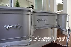 Silver paint for furniture Silver French Tips On Using Metallic Paint And Silver Painted Dressing Table Set Lilyfield Life Lilyfield Life Tips On Using Metallic Paint And Silver Painted