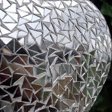 Large Silver Mosaic Mirror Heart Garden Hanger