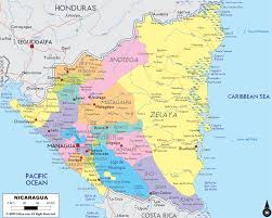 detailed political map of nicaragua  ezilon maps